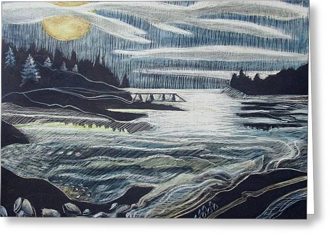 Greeting Card featuring the drawing Moonrise, Duck Harbor by Grace Keown