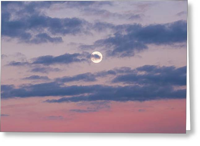 Moonrise In Pink Sky Greeting Card