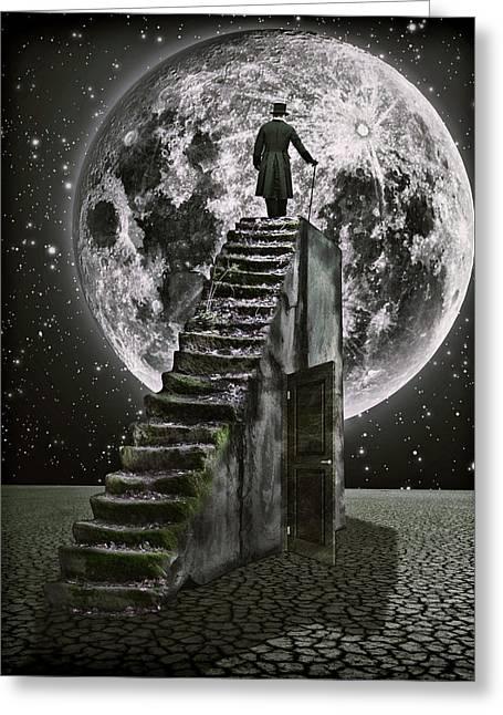 Moonrise Greeting Card by Mihaela Pater