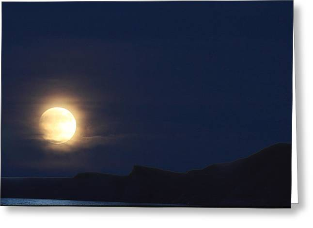 Greeting Card featuring the photograph Moonrise On Lake Mead 2 by Marie Leslie