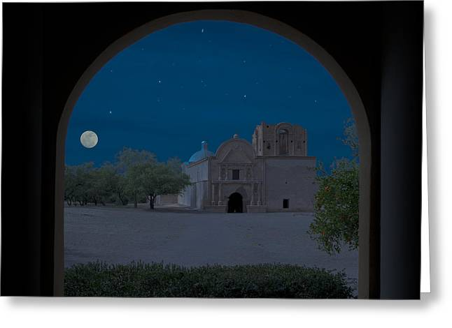 Moonrise On Tumacacori Mission Greeting Card by Sandra Bronstein