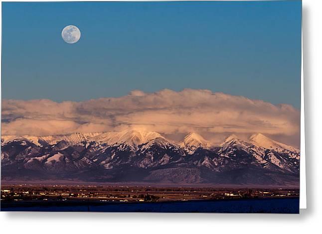 Moonrise Over Mount Blanca Winter San Luis Valley Colorado Greeting Card