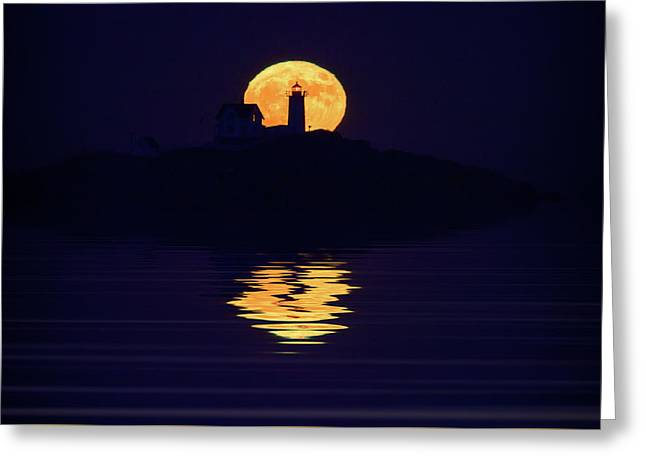 Moonrise Over Cape Neddick Greeting Card by Rick Berk