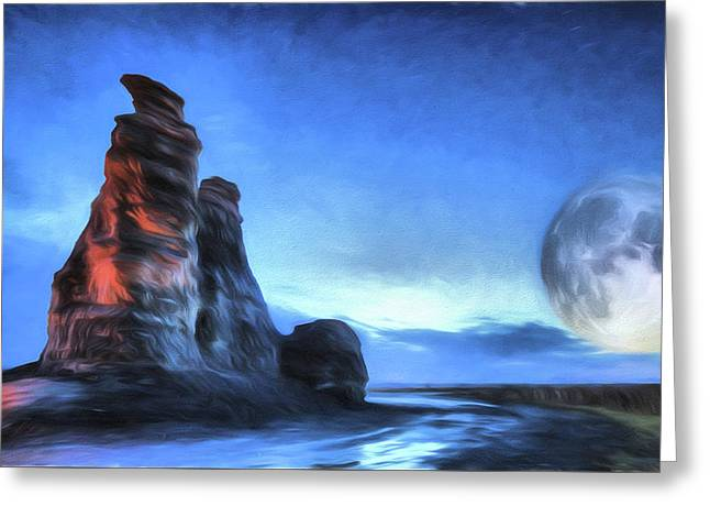 Greeting Card featuring the digital art Moonrise Over Castle Rock by JC Findley