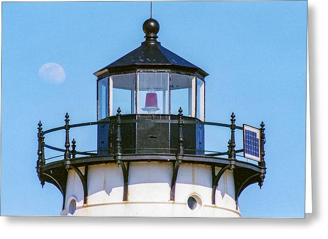 Moonrise Over Edgartown Lighthouse Greeting Card by Brian MacLean
