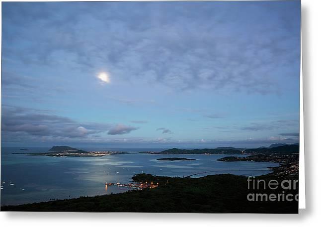 Moonrise Over Kaneohe Bay Greeting Card