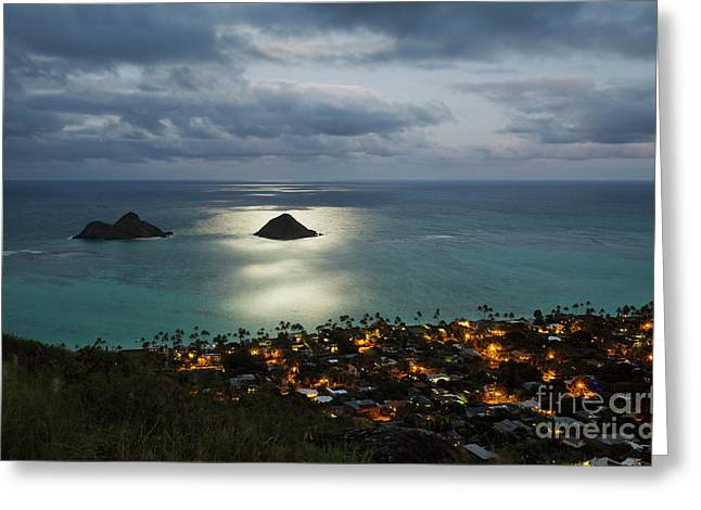 Moonrise Over Lanikai Greeting Card