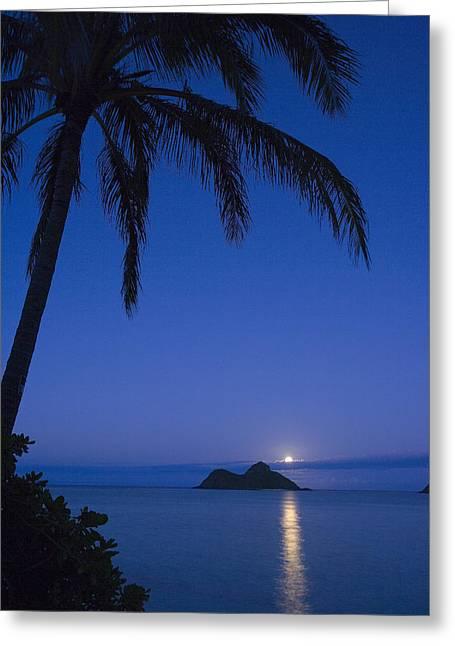 Moonrise Over Lanikai Greeting Card by Dana Edmunds - Printscapes
