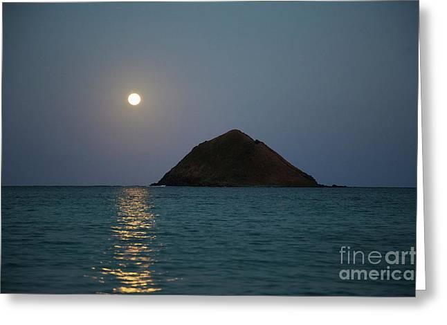 Moonrise Over Moku Iki Greeting Card
