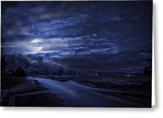 Moonrise Over Pymatuning Lake Greeting Card
