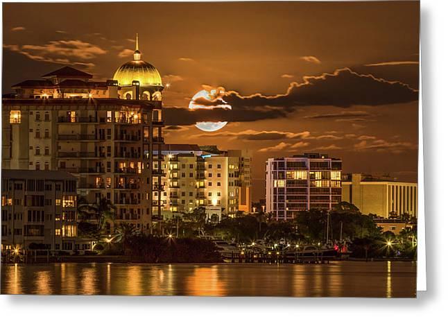 Moonrise Over Sarasota Greeting Card