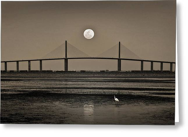 Skyway Greeting Cards - Moonrise Over Skyway Bridge Greeting Card by Steven Sparks