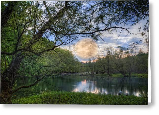 Moonrise Over The Lake Greeting Card by Debra and Dave Vanderlaan