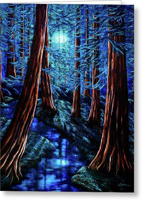 Moonrise Over The Los Altos Redwood Grove Greeting Card by Laura Iverson