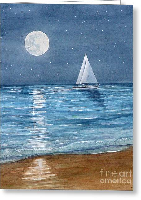 Moonrise Sail Greeting Card by Pauline Ross