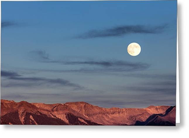 Moonrise With Afterglow Greeting Card
