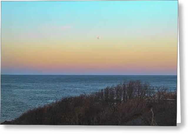 Moonrising Over Portland Headlight Greeting Card by David Bishop