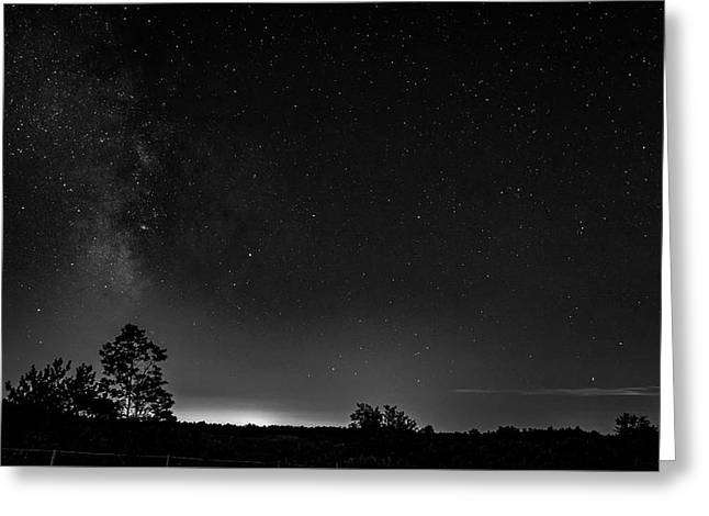 Moonset And The Milky Way Bw Greeting Card