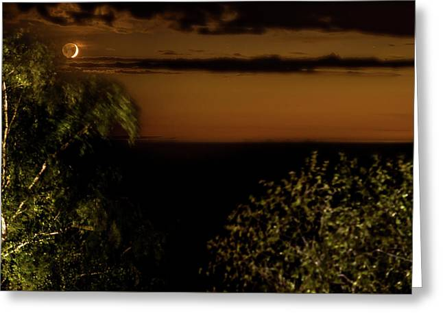 Greeting Card featuring the photograph Moonset At Bay Harbor by Onyonet  Photo Studios
