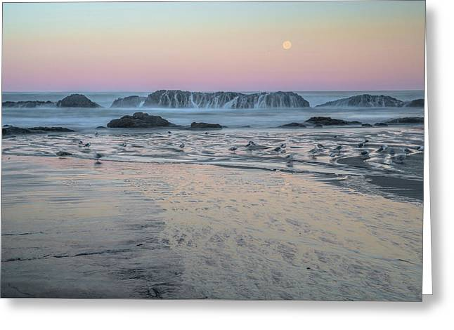 Moonset At Seal Rock Greeting Card