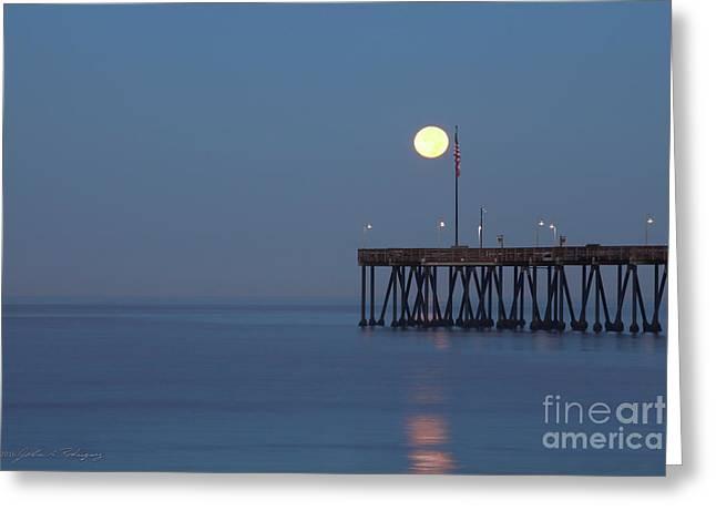 Moonset At The Ventura Pier Greeting Card
