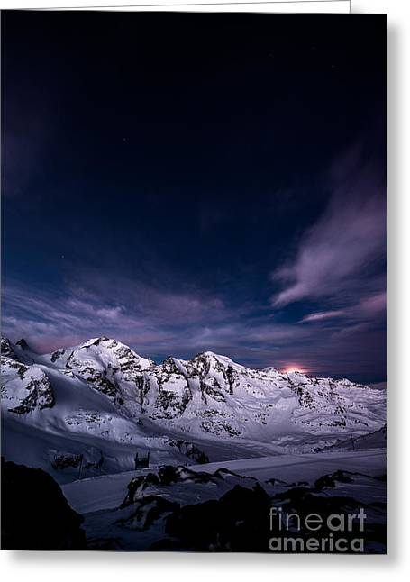 Moonset From Diavolezza Greeting Card by Peter Wey