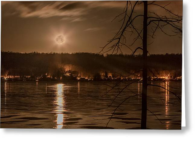 Moonset On Conesus Greeting Card