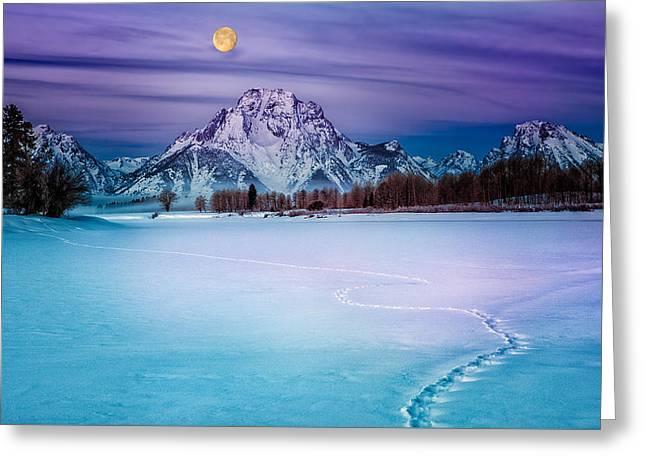 Moonset On Moran Greeting Card