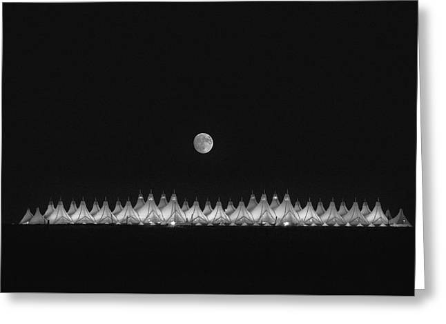 Moonset Over Dia Greeting Card