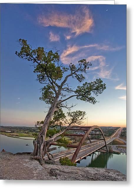 Moonset Over The 360 Bridge Austin Texas 1 Greeting Card