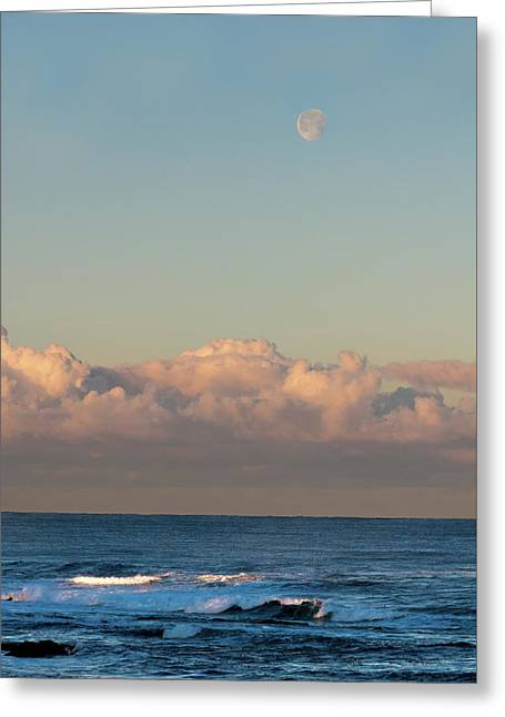 Moonset Over The Pacific Greeting Card
