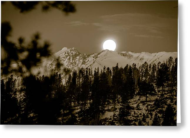 moonset over the Rockies Greeting Card