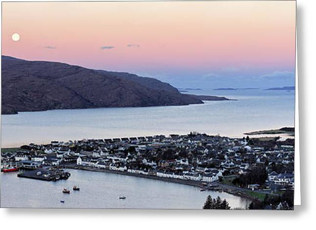 Greeting Card featuring the photograph Moonset Sunrise Over Ullapool by Grant Glendinning