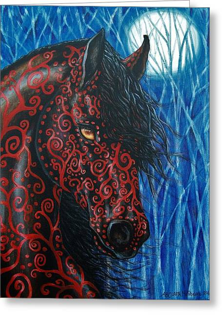 Moonsfyre Stallion Of Nyteworld Greeting Card by Beth Clark-McDonal