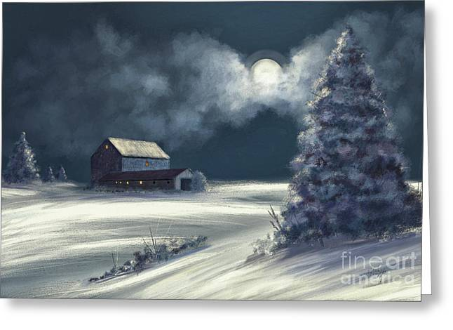 Moonshine On The Snow Greeting Card