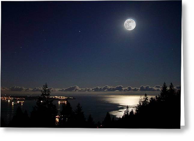 Moonshine Over English Bay Greeting Card