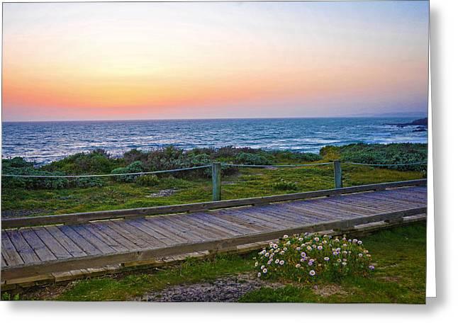 Moonstone Beach Boardwalk Greeting Card by Lynn Bauer