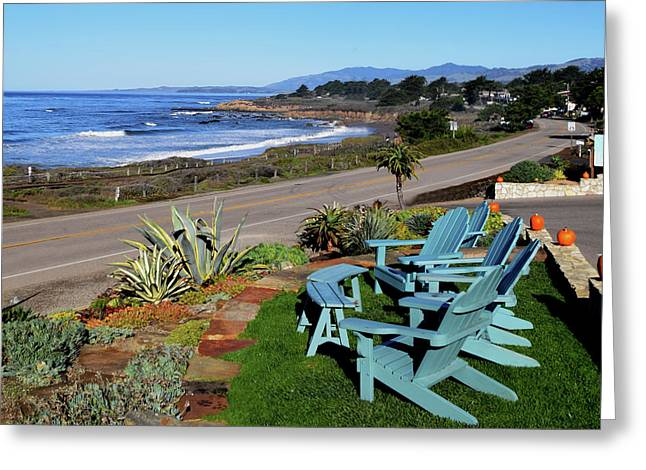 Greeting Card featuring the photograph Moonstone Beach Seat With A View by Barbara Snyder