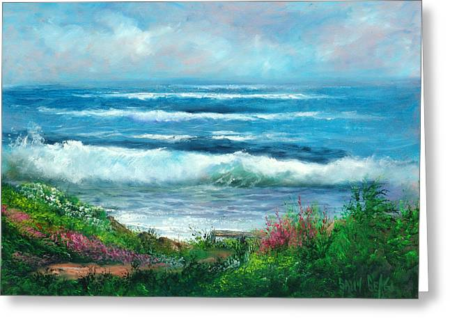 Moonstone Bench Greeting Card by Sally Seago