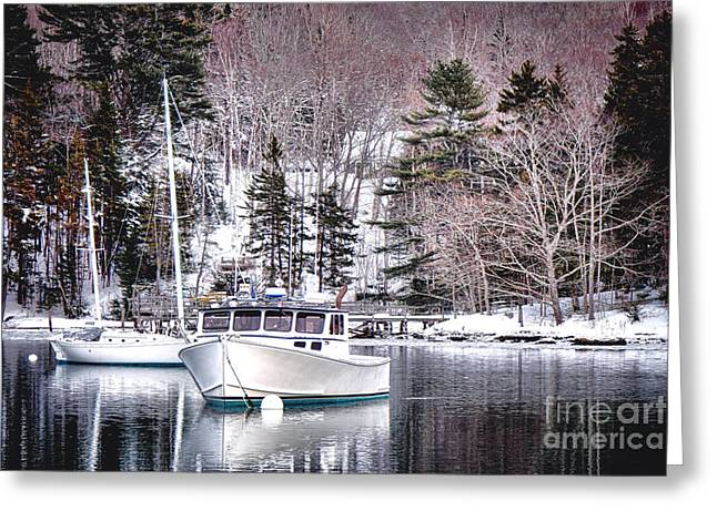Moored Boats In Maine Winter  Greeting Card by Olivier Le Queinec