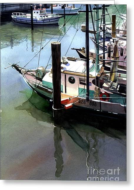 Greeting Card featuring the painting Moored Boats by Sergey Zhiboedov