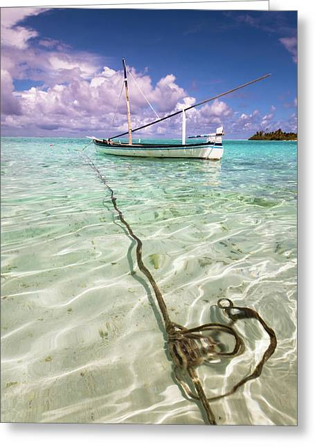 Moored Dhoni. Maldives Greeting Card by Jenny Rainbow