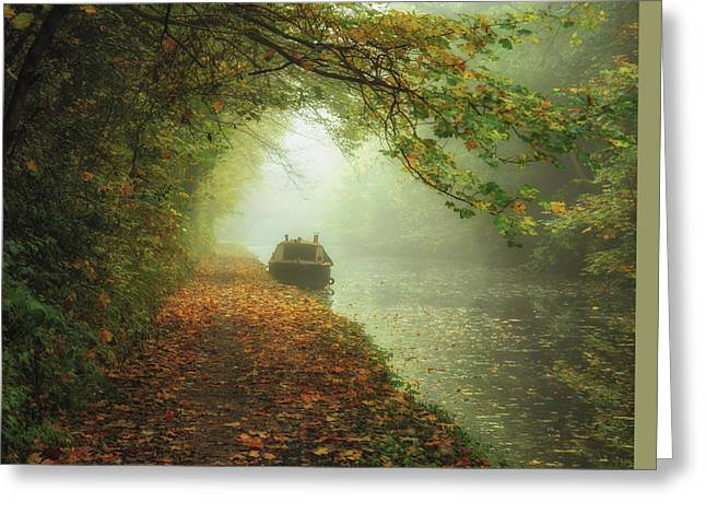 Moored In The Mist Greeting Card by Chris Fletcher