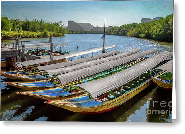 Moored Longboats Greeting Card