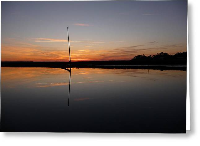Greeting Card featuring the photograph Moored Near Saint Marys by Joel Deutsch