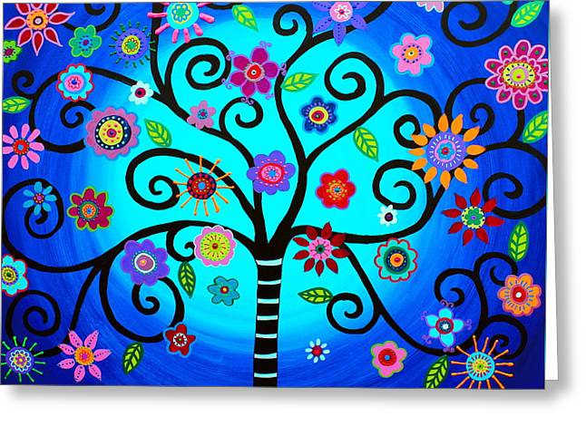 Greeting Card featuring the painting Moore's Tree Of Life by Pristine Cartera Turkus