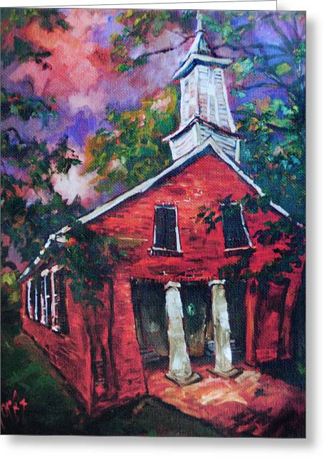 Mooresville Brick Church Greeting Card by Carole Foret