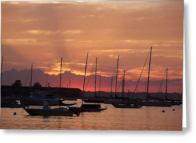 Mooring Field Sunset Greeting Card by Walter Taylor