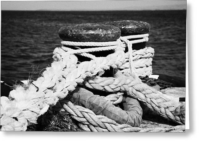 Moorings Greeting Cards - Mooring Ropes On Old Metal Harbour Bollard Scotland Greeting Card by Joe Fox