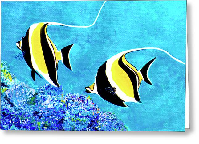 Moorish Idol Fish  #50 Greeting Card by Donald k Hall